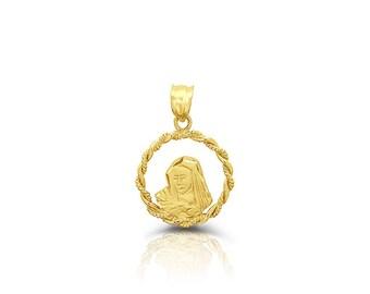 14k solid gold virgin mary medallion. religious pendant.