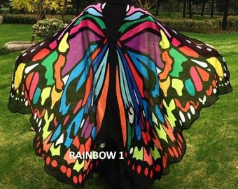 Butterfly, Cape, Wings, Costume, Clothing, Dress Up, Photography Prop, festival clothing, pixie, nymph, shawl, fairy, scarf, fashion, cloak
