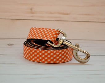 5 foot long Dog Leash in Orange and White Gingham Check to match Bow Tie and Flower collars