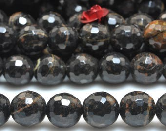 47 pcs of Natural Golden Black Obsidian faceted round beads in 8 mm (07248#)