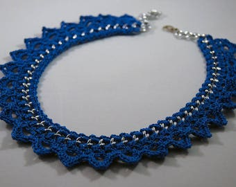 Chain Choker necklace and blue wire