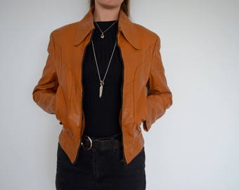 Tan 70s leather fitted jacket with pockets - xs