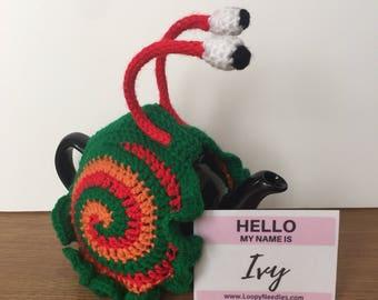 IVY Crochet Snail Tea Cosy fits 2 cup teapot 3 colours: bottle green, pumpkin, sparkly red