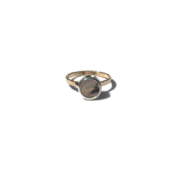 white abalone stacking ring, size 7 1/2