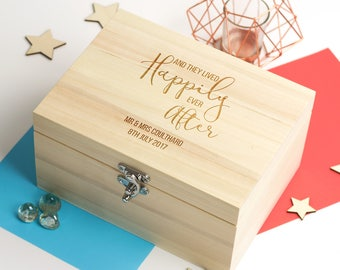 Wedding Keepsake Box - Happily Ever After - Personalised Keepsake Box - Memory Box - Wooden Keepsake Box - Wedding Gifts - LC247