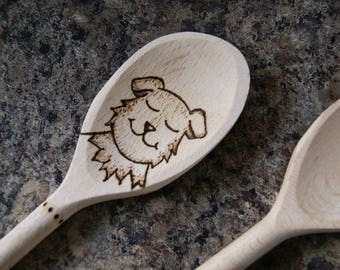 Happy hungry dog spoon pyrography