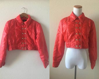 vintage 70's/80's RED CROPPED PUFFER jacket - small, coat