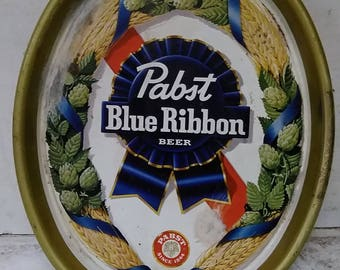 Pabst beer tin tray