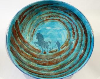 The Dark Plough Handpainted Ceramic Fruit Bowl