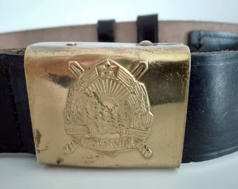 Vintage Romanian military army communist belt buckle, socialist 1960s, Europe, period of Nicolae Ceausescu, dictator