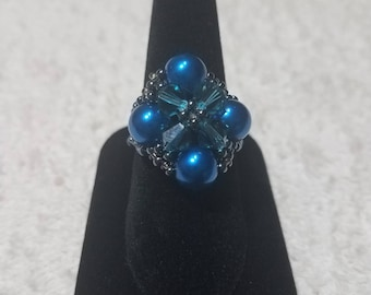 Elegant Blue Beaded Ring