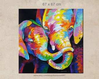 67 x 67 cm, Colorful elephant paintings on canvas by Sumaree Nunsang