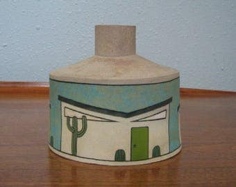 Atomic Mid-Century Modern Pottery Sculpture Vase with Houses