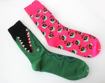 Socks, colorful, funny socks, 2pair,crocodile and pink lemon