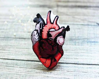 red heart jewelry gifts|for|nurse human heart brooch medical student gift|for|her human anatomy graduation gift|for|him punk rock punk gifts