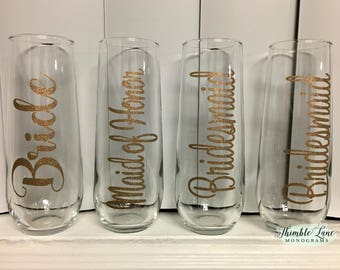 Champagne Glass Decals -  Champagne Flute Decals - Wedding Party Decals - Personalized Stemless Champagne Flutes