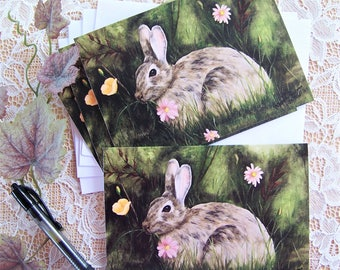 Rabbit, animal Blank Note Cards, 4 cards