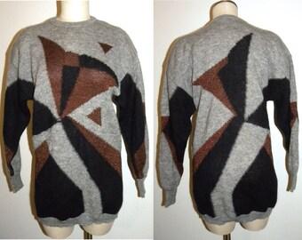 1980's 80s ESCADA Sweater / Margaretha Ley Metallic Jumper / Oversized Sweater TUNIC / Vintage  size 36