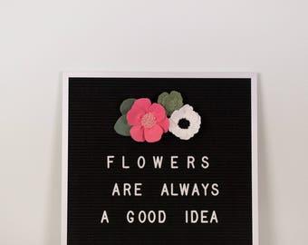 flower garland, letter board flowers, letter board decor, floral garland, wool felt flowers, felt letter board flowers