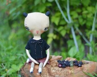 Bear doll - Panda doll - Toy - Animal cat - Woodland doll - Pixie doll - Elf doll - Art textile doll -  Stuffed toy.