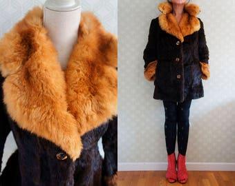 70s Vintage Fur Coat. Boho style soft and abundant Goat Fur Coat. Great fur collar and lapels.