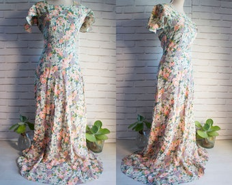 70s Vintage Maxi Dress - Sheer Vintage Maxi Dress 70s - Romantic Vintage Maxi Dress.