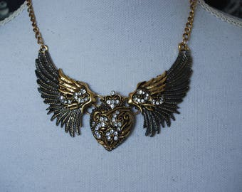 Wings heart choker , Victorian winged heart bib necklace , heart jewelry , wings jewellery , festival fantasy accessories , birthday gift