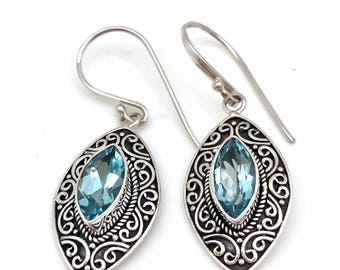 Sterling Silver and Blue Topaz Marquis Earrings