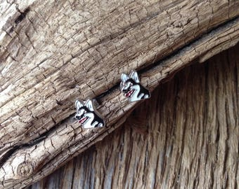 Husky earrings: Washington Huskies post earrings, siberian husky earrings, husky jewelry, huskies jewelry, UConn Huskies