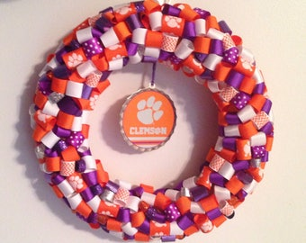 Clemson Tigers rolled ribbon door wreath: Clemson purple and orange wreath, Clemson door hanger, Clemson graduation gift, Clemson tiger paw