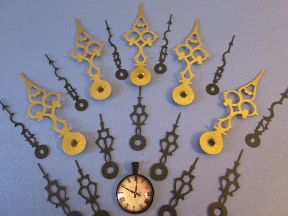 Nice Mix of Assorted Vintage Solid Brass And Steel Serpentine Style Clock Hands for your Clock Projects - Steampunk Art - Jewelry Making
