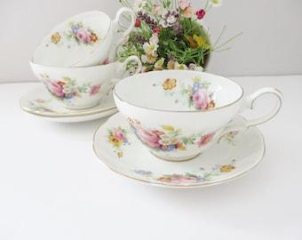 Spencer Stevenson vintage 1950's floral tea cup and saucer