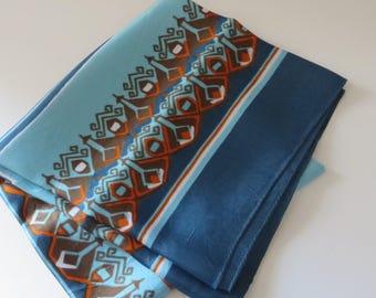 Vintage 1960's  Turquoise Blue and orange scarf