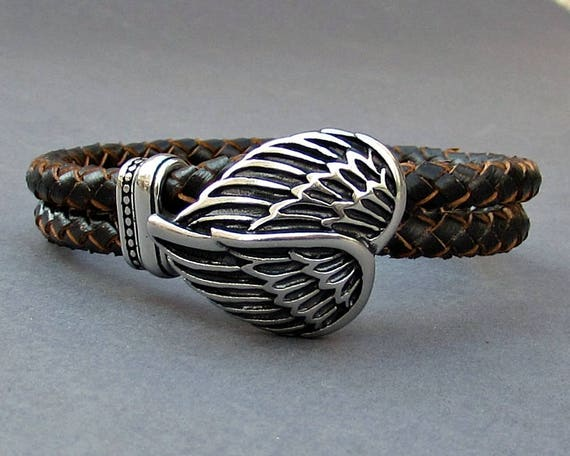 Angel Wings Braided Leather Bracelet, Mens Stainless Steel Leather bracelet Cuff Gift For Men Customized On Your Wrist