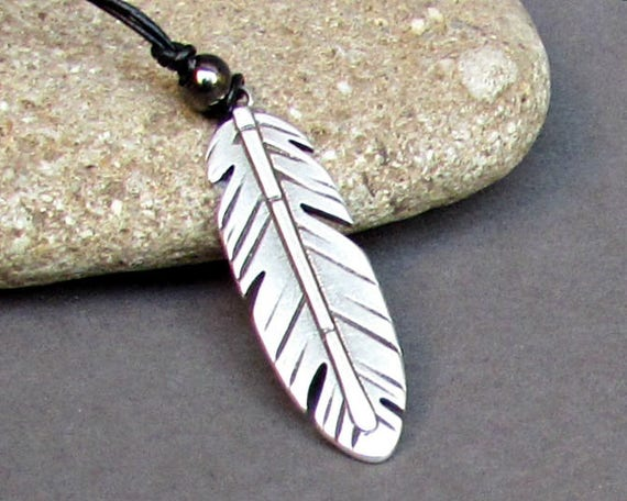 Feather Mens Necklace Pendant, Mens Silver Leather Necklace, Best Friend, Boyfriend Gift Adjustable