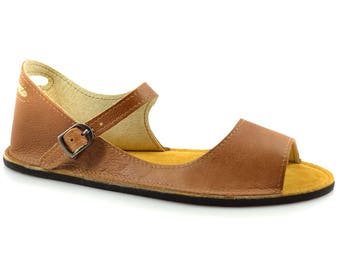 "Brown Leather Sandals - Minimalist Sandals - Zero Drop Sandals Made in USA - Minimal Sandals - Adult Softstar ""Solstice"" Style"