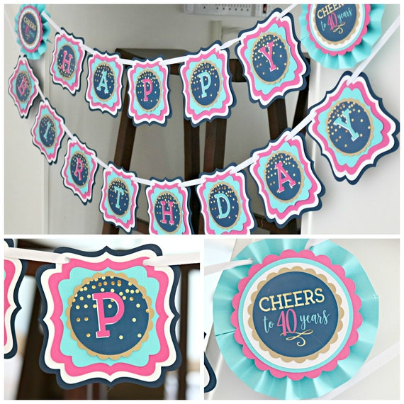 40th BIRTHDAY PARTY BANNER Party Decorations Happy Birthday