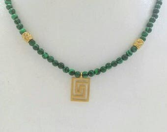 Malachite beaded necklace with Greek meander pendant in gold filled silver
