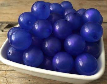 20mm Blue Glitter Powder Chunky Bead, Bubblegum Bead, Acrylic Bead, DIY Chunky Necklace, 10 Count