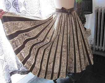 Vintage 1950's Mexican Skirt with Faces (Mayan gods?)  AS IS