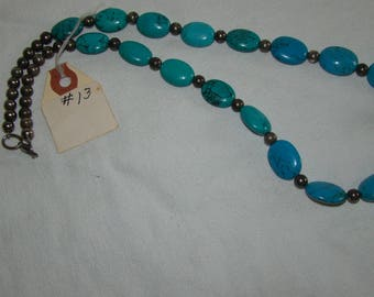 T-13 Native American Necklace, Silver ??, Turquoise stones
