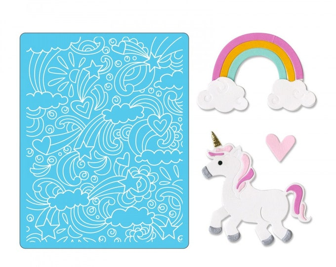 Will ship March 20th - Sizzix Tim Holtz Thinlits Die Set 11PK w/Textured Impressions - Unicorn & Rainbows 662757