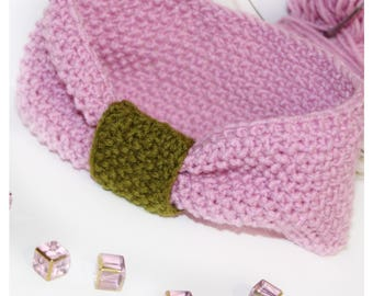 Handmade headband was hand crocheted, pink
