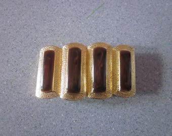 "1980s Gold-Tone Metal Belt Buckle by ""Paquette"""