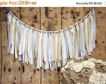 4th of July Sale-10% off Rag Tie Banner Blue Tan Ivory, Neutral, Rag Tie Garland, Fabric Garland, Photo Prop, Wedding, Baby Shower, Cake Sma