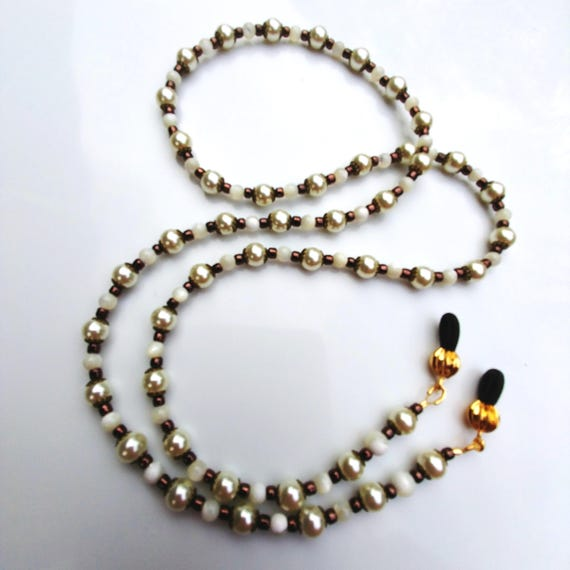 Vintage Glasses Chain, Old World White Pearl Eyeglass Chain