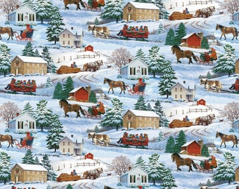 Winter Sleigh Ride & House Scenic Wilmington Prints #5160 By the Yard