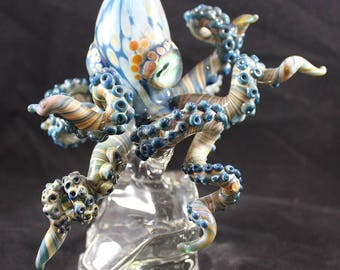 Blue Glass Octopus Sculpture--Cerulean Sea Life Cephalopod -- Realistic Boro Blown Glass Octopus