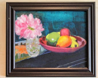 still life with glass, pink flower and fruit