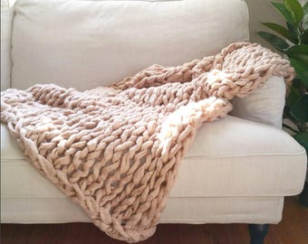 "FLASH SALE! // Chunky Knit Blanket // Chunky Knit Throw //  36"" x 55"" // Tan // Simply Maggie"